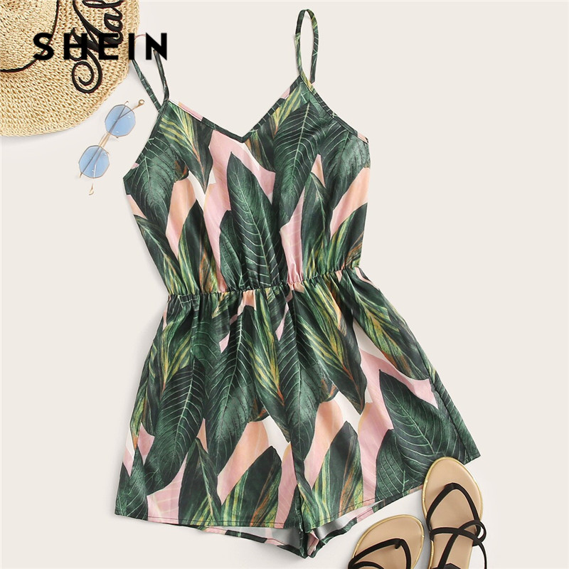 SHEIN Elastic Waist Slip Tropical Summer Rompers Womens   Jumpsuit   VNeck Spaghetti Strap High Waist Playsuit Wide Leg   Jumpsuit