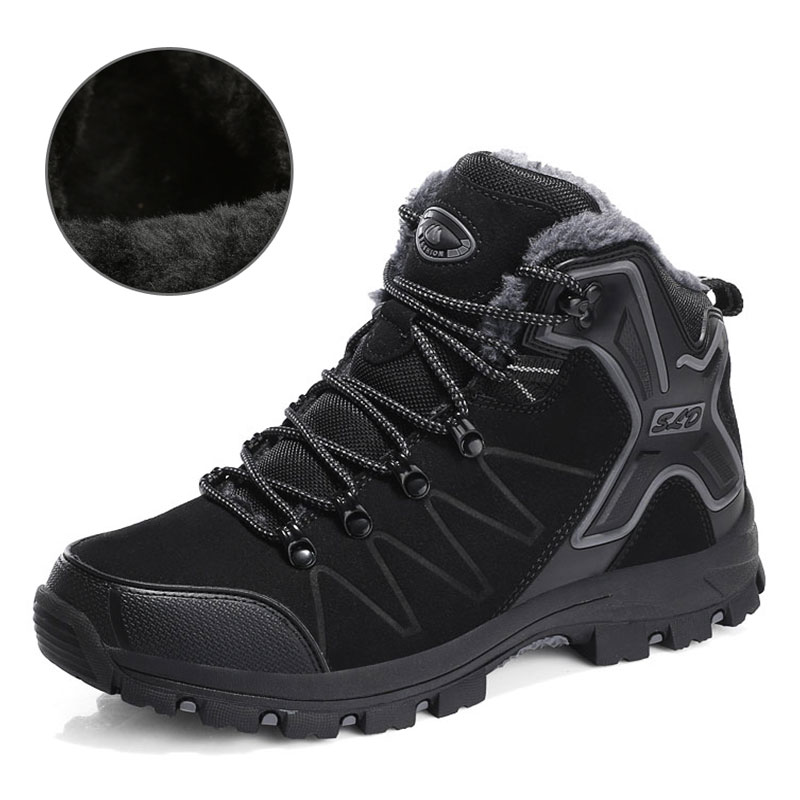 SUROM Waterproof Plush Warm Hiking Shoes Wear-resistant Non-slip Outdoor Sports Shoes Walking Boot Winter Sneakers Women Shoes mulinsen brand new winter men sports hiking shoes cowhide inside keep warm sport shoes wear non slip outdoor sneaker 270606