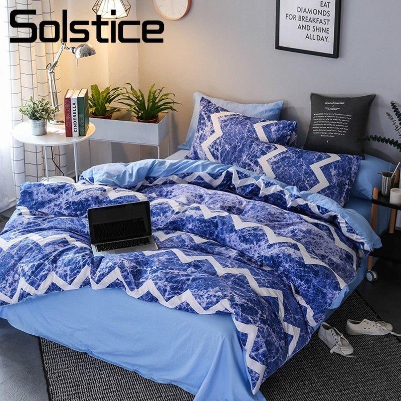 Solstice Accueil Textile Bande Bleu Océan Vagues Enfant Adolescent Ensemble de Literie Roi Reine Housse de Couette Taie D'oreiller Drap de Lit Fille linge