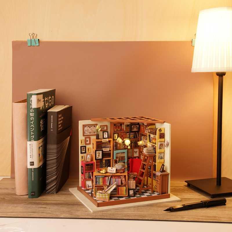 Робутон дропшиппинг DIY деревянный дом Миниатюрный Кукольный дом наборы мини кукольный домик с мебели легкий подарок ремесла игрушки-Сэм кабинет