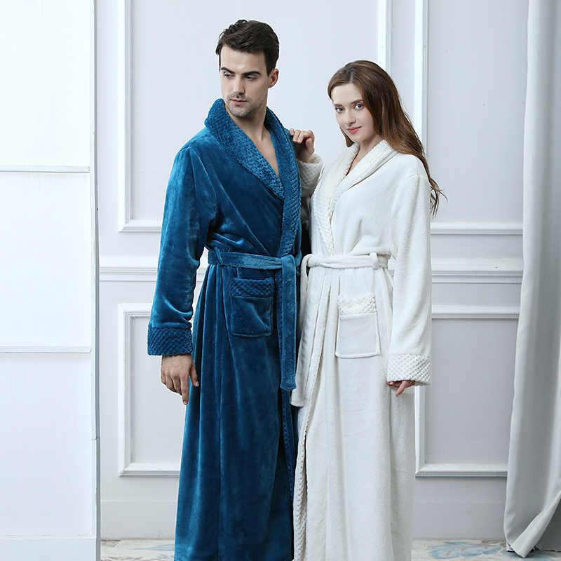 Extra Long Plus Size Winter Thick Warm Flannel Coral Fleece Waffle Kimono  Bathrobe Men Women Luxury 6465c5447