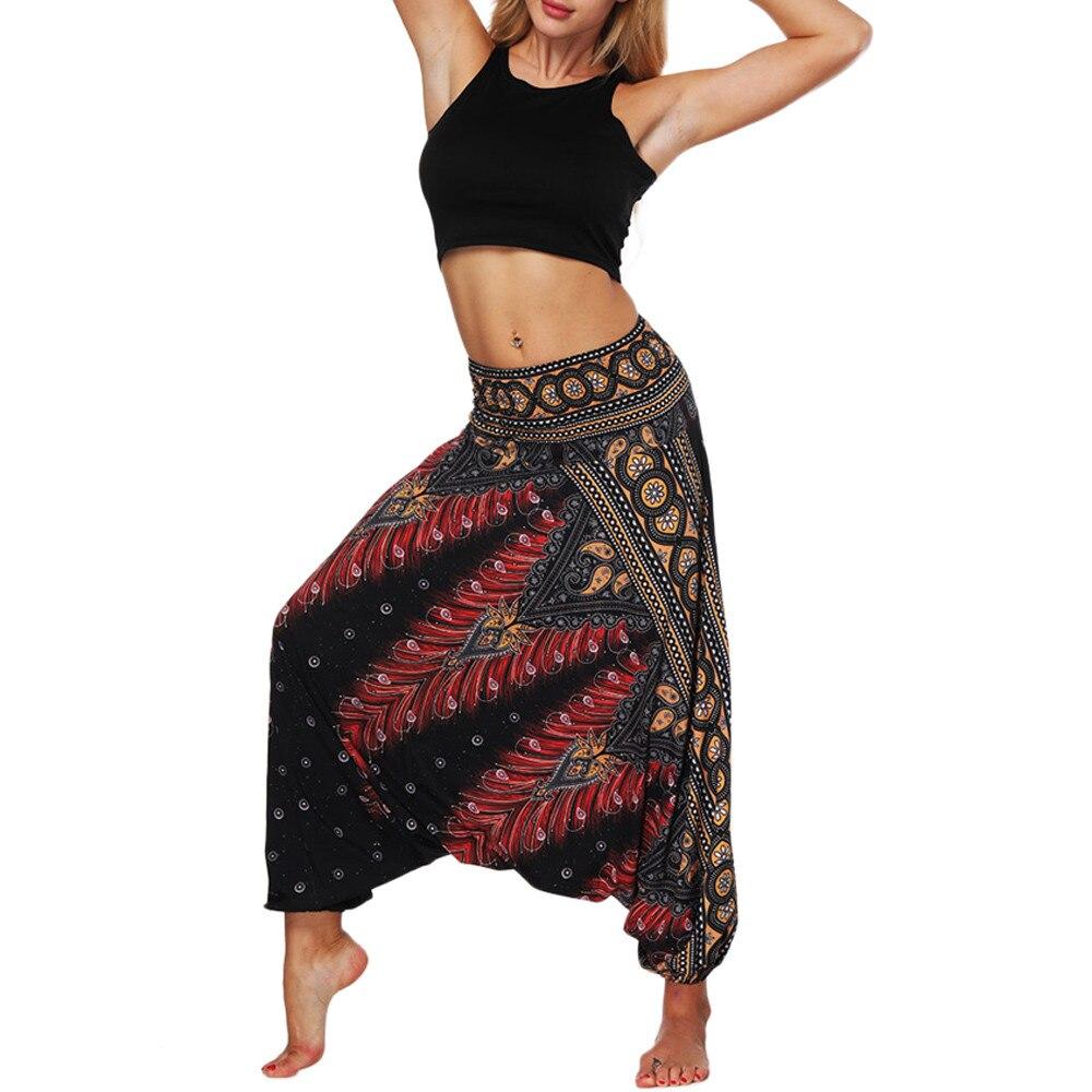 Calças Ocasional Das Senhoras das mulheres Verão Solto Calças Largas Femininas Boho Impressão Moda Casual Calças Macacão Harém Aladdin 2019