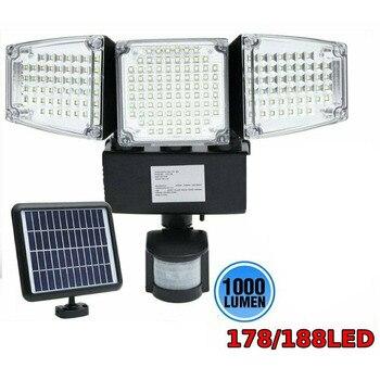 178/188 LED Solar Light Motion Sensor Security Lamp Waterproof Three Head Outdoor Light For Entryways Patio Yard Gardren Hot