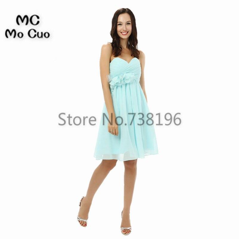 Simple 2017   Bridesmaid     Dress   Short Maid of Honor Wedding Party   Dresses   Chiffon Pleat Flowers Formal   Bridesmaids     Dresses