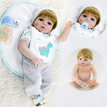 "Reborn boy blond hair full silicone reborn baby dolls 23""57cm bebes reborn corpo de silicone inteiro menino bonecas"