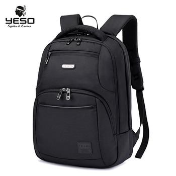 YESO真新しいラップトップバックパックブラックメンズバックパック大容量多機能オックスフォードスクールバッグエアクッションベルトリュックサックラップトップバッグ