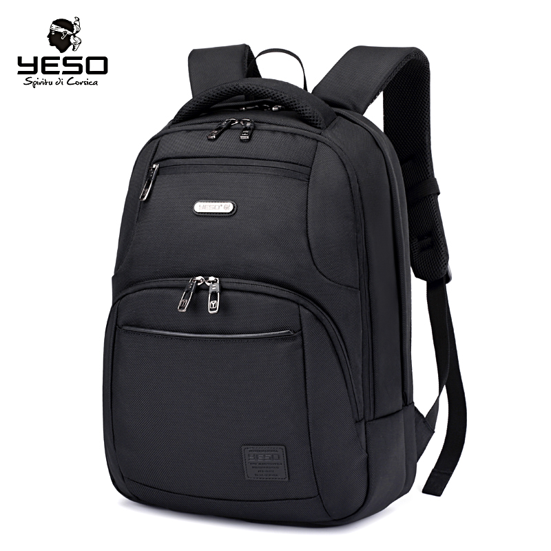 Yeso New Black Laptop Backpack Large Capacity Men's Backpacks Multifunction Oxford Casual Backpack Bag Air Cushion Belt Rucksack