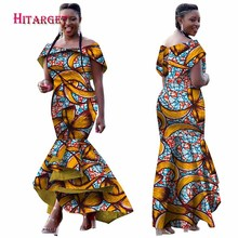 Hitarget 2018 Autumn African dresses for women Dashiki Ankara Traditional  Clothing Batik Wax Off the Shoulder 2eeb8077118e