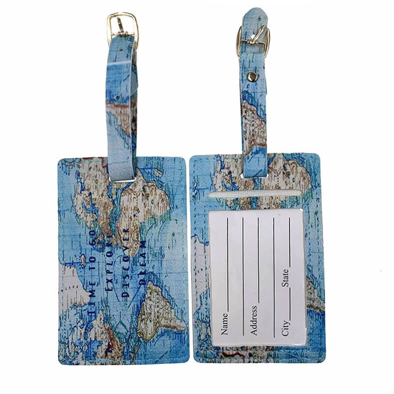 Travel Accessories PU Leather World Map Luggage Tag Fashion Suitcase ID Address Holder Baggage Boarding Tag Portable Label