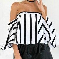 2017 Fashion Striped T Shirt Women The Word Collar Black White Crop Top Short T Shirts