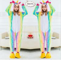DropShipping New Adult Kids Colorful Rainbow Unicorn Pajamas Star Winter Animal Onesie Pyjamas Costume For Children