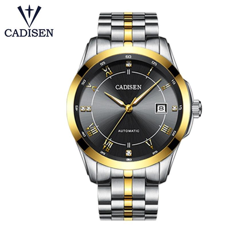 CADISEN Mens นาฬิกา Miyota Movt สแตนเลสนาฬิกา 5TAM Luxury Sapphire นาฬิกาอัตโนมัติผู้ชายนาฬิกาข้อมือ-ใน นาฬิกาข้อมือกลไก จาก นาฬิกาข้อมือ บน   3