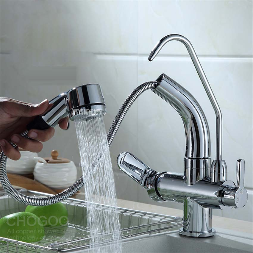 Фотография HY-85 Pull Out Spray Pure Water 3 Way Double Faucet Tap Filler Kitchen Faucet Three Steps Faucet Water Faucet Filter 3.2-4.2 cm
