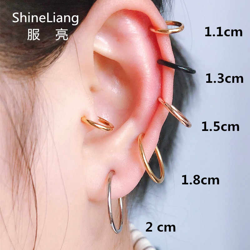 2PCS Unisex Punk Clip on ear without piercing no hole Fake Body Nose Lip Hoop Rings Jewelry Earrings for women men gold silver