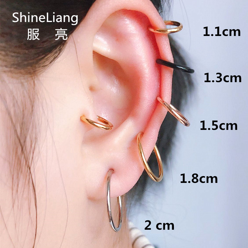 2PCS Unisex Punk Clip on ear without piercing no hole Fake Body Nose Lip Hoop Rings Jewelry Earrings for women men gold silver(China)