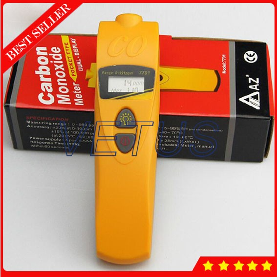 AZ7701 Pocket Type CO Meter Gas Analyzer Meter Carbon Monoxide Meter detector Gas Analyzer Monitor with CO Range 0 to 999ppm gm8805 portable handheld carbon monoxide meter high precision co gas detector analyzer measuring range 0 1000ppm detector de gas