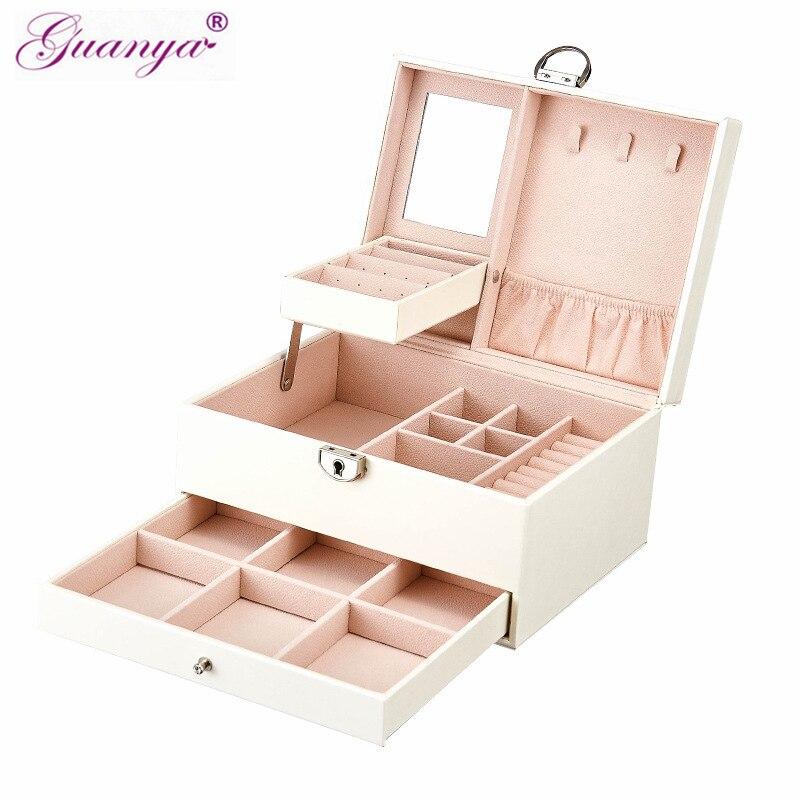 Casegrace noir blanc exquis bijoux en bois organisateur boîtes collier anneaux boîte de rangement organizador treillis bijoux bin 01153