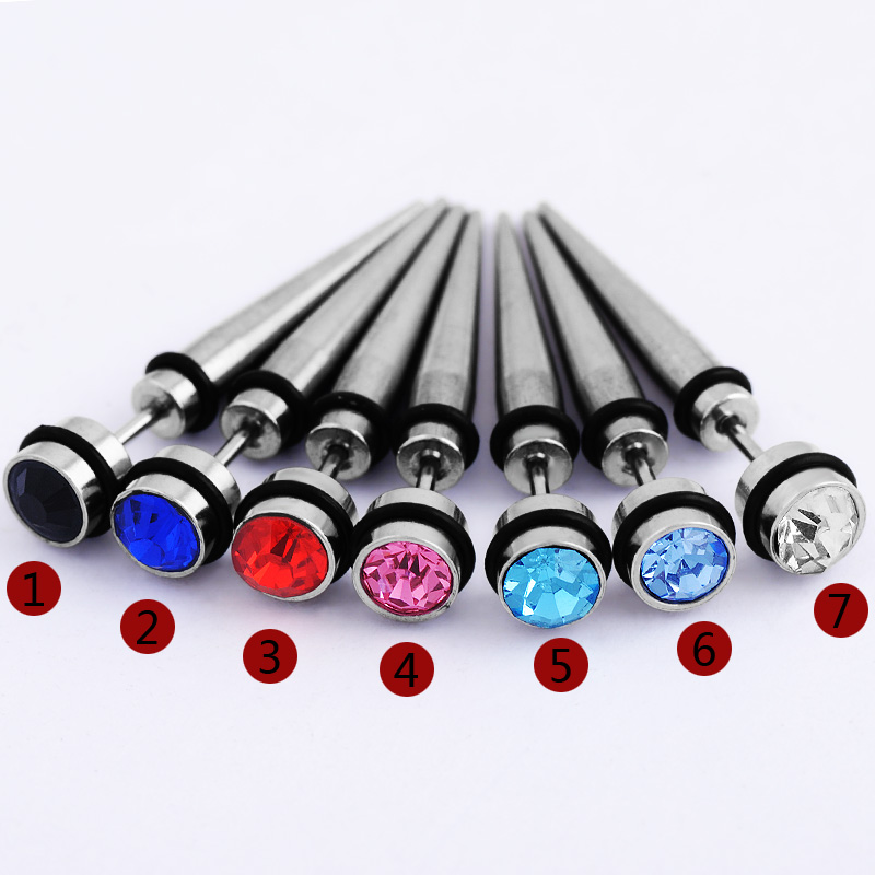 7pcs/lot mix Stainless Steel Cheater Faux Fake Ear Plugs Flesh Tunnel Gauges Tapers Stretcher Earring Piercing Jewelry
