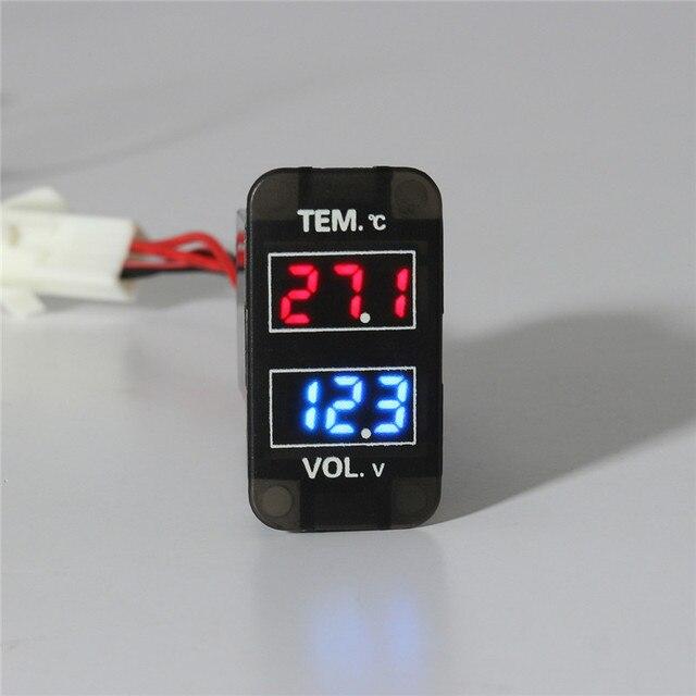 0 ~ 30 V LED Digital del voltímetro del medidor de temperatura 2 en 1 voltaje medidor rojo azul LED de pantalla Dual negro para coche