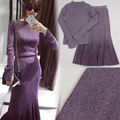 [soonyour] 2017 Spring winter New round neck solid color Silver Wire Blending Knitting Sweater Two pieces set woman AK28614XS