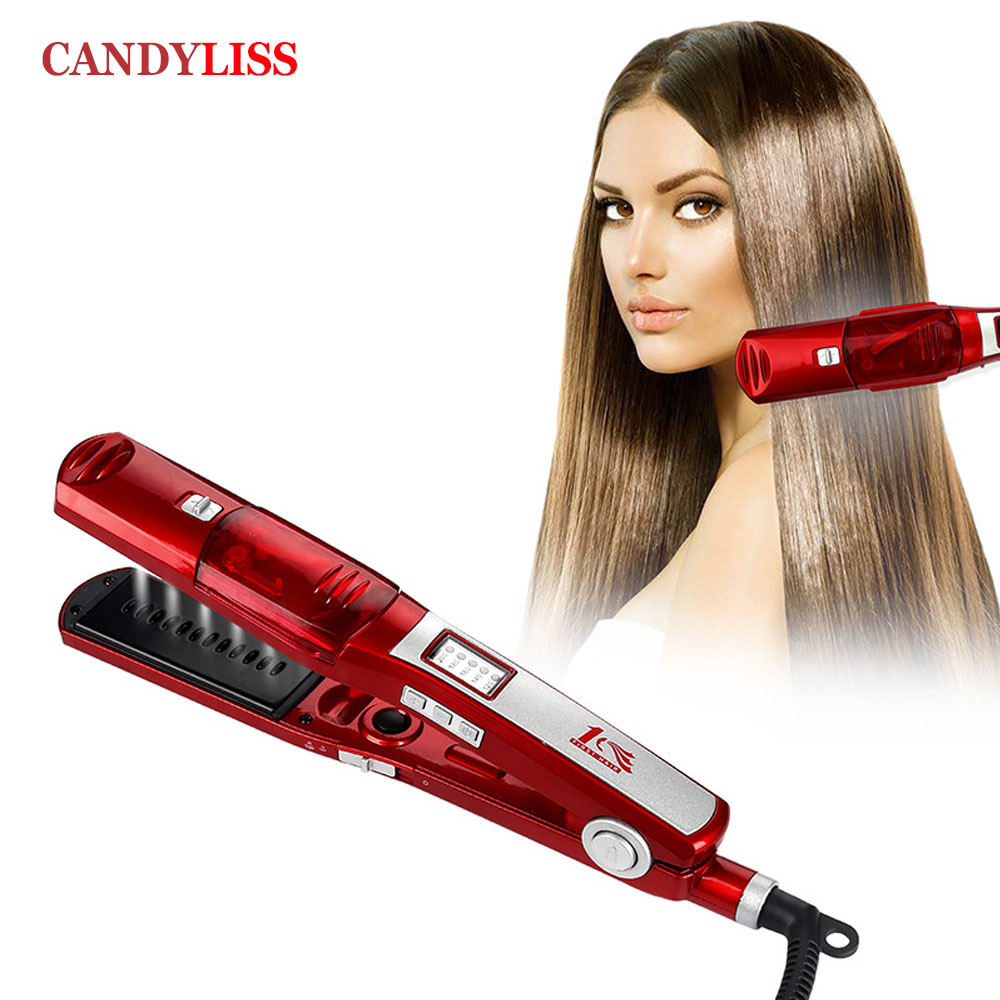 Steam Comb Straightening Hair Irons Automatic Straight Hair Brush Temperature Display Electric Fast Hair Straightener Tools professional vibrating titanium hair straightener digital display ceramic straightening irons flat iron hair styling tools eu