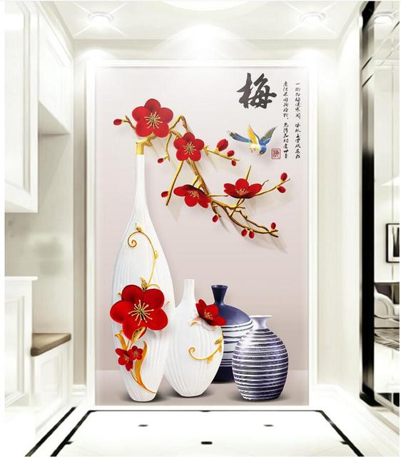 custom mural photo 3d wallpaper simple relief vase plum blossom porch painting 3d wall murals wallpaper for living room