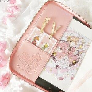 Image 3 - Captor de carte Sakura Figure daction Anime imprimé créatif papier cahier Mini dessin animé rose fermeture éclair livre couverture métal stylos cadeau poupée