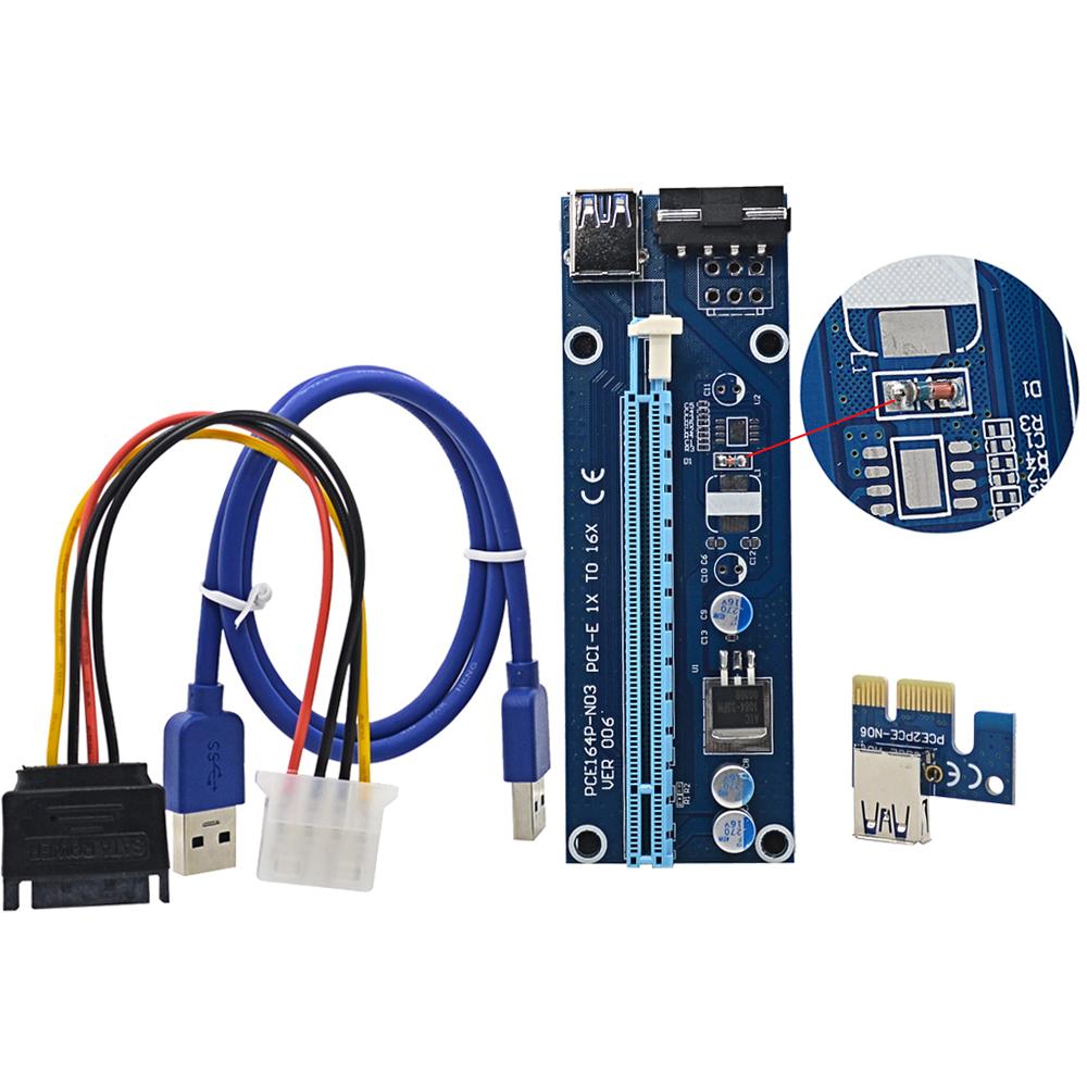 Prix pour 5 PCS Régulateur Tube VER006 60 CM PCI Express PCI-E 1x à 16x Extender + USB 3.0 Câble/SATA à 4Pin IDE Puissance Fil pour BTC Mineur