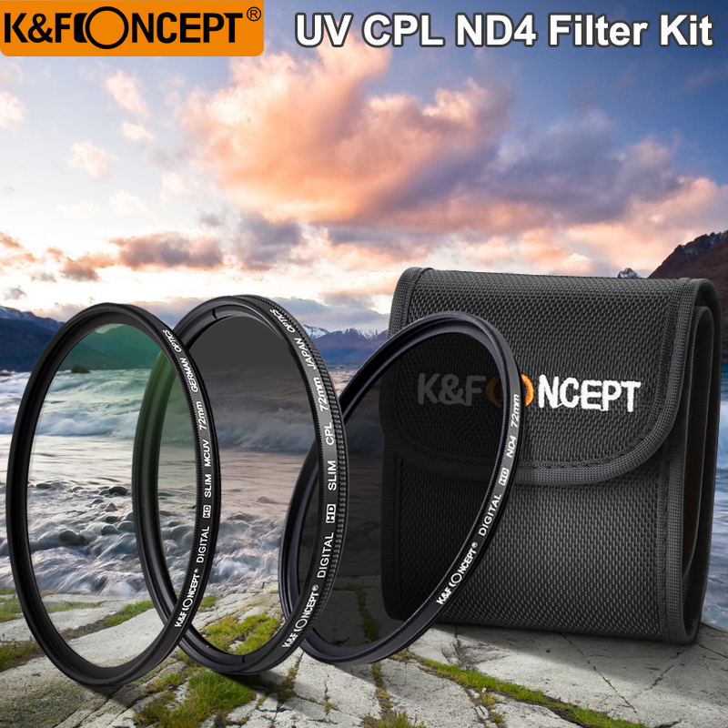 K&F CONCEPT UV+CPL+ND4 Lens Filter Sets+Filter Pouch/Bags 52mm 58mm 62mm 67mm 72mm 77mm For Nikon Canon Sony Pentax DSLR Camera