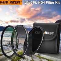 K & F CONCEPT UV + CPL + ND4 ensembles de filtres d'objectif + pochette/sacs de filtre 52mm 58mm 62mm 67mm 72mm 77mm pour Nikon Canon Sony Pentax appareil photo reflex numérique