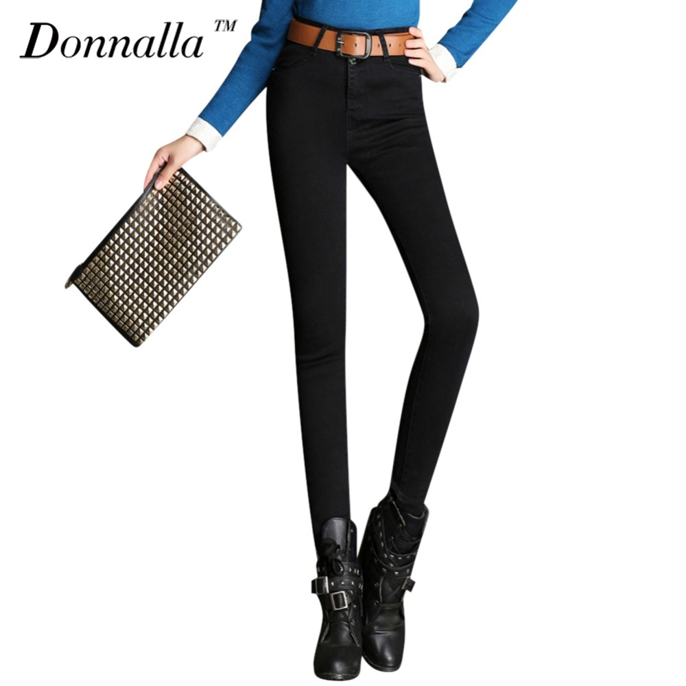 Donnalla Women Jeans Elastic Skinny Jeans Women Mid Waist Blue Jeans Young Girls Slim Pencil Pants Cowboy Style Trousers