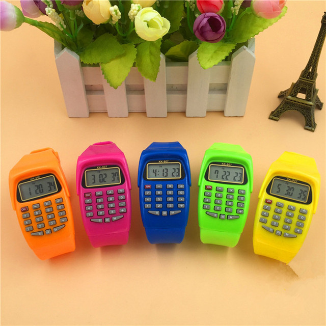 LED Calculator Watch Electronic Digital Chronograph Computer Kids Children Boys