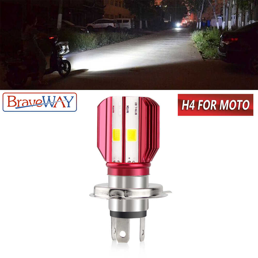 BraveWay 1PC Motorcycle H4 LED Headlight Bulb Auto Lamp 12V LED Bulb for Motorbike Motorcycle ATV Moto Bike