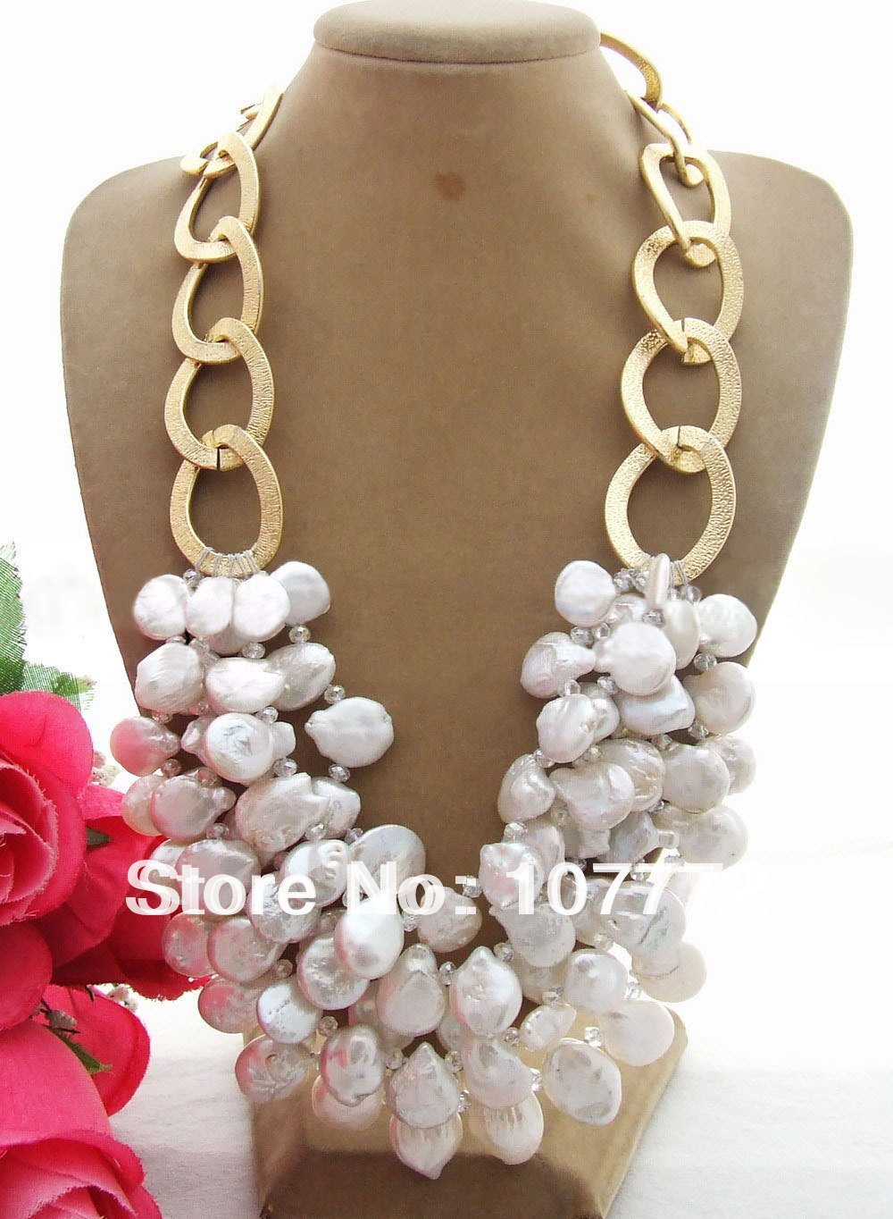16 mm Coin Pearl Crystal Necklace free shipment