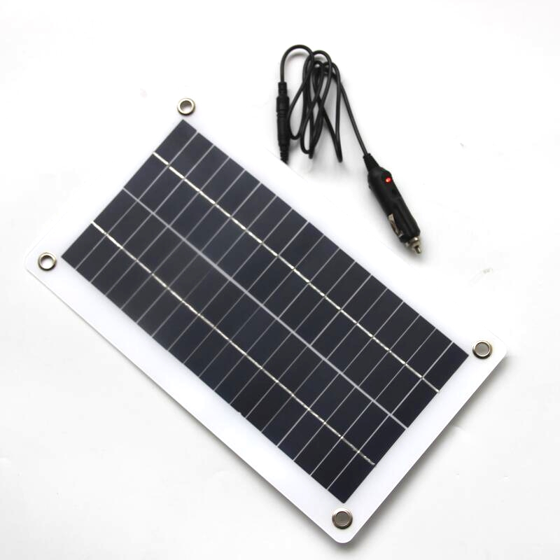BUHESHUI Semi flexible 10W 18V 12V Portable Solar Panel Charger with DC 5521 Cable For 12V