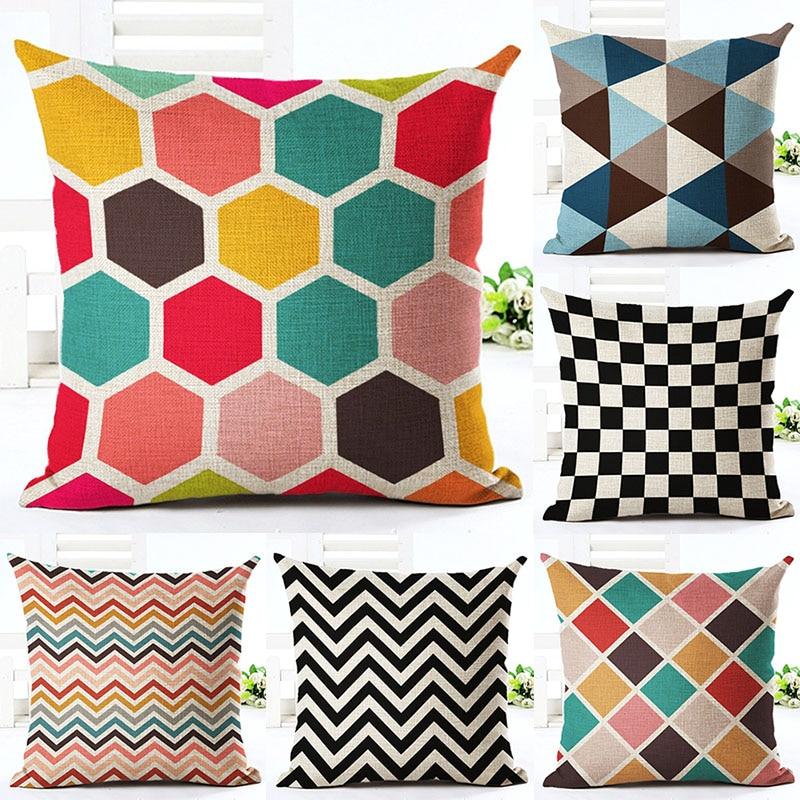 Colourful Geometry Printed Cotton Linen Pillowcase Decorative Pillows Cushion Use For Home Sofa Car Office Almofadas Cojines