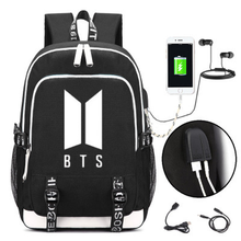 Купить с кэшбэком Boy Scouts BTS Backpack Bts Printing Canvas bangtan boys School Bags Mochila Feminina Travel Bags Laptop Backpack USB Charge