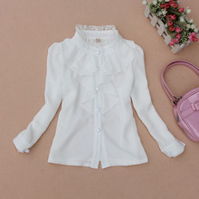 Весна осень 2-16 лет шифоновая кружевная большая блузка для маленьких девочек белая одежды детская рубашка с длинным рукавом для девочек топы для детей JW0263
