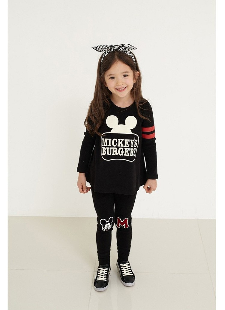 Cartoon Mouse Design Clothing Set for Girls 3-8Y