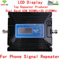 LCD Display ! Newest Dual Band 3G W-CDMA 2100MHz + 2G GSM 900Mhz cellular signal booster , Cell Phone Signal Booster Repeater
