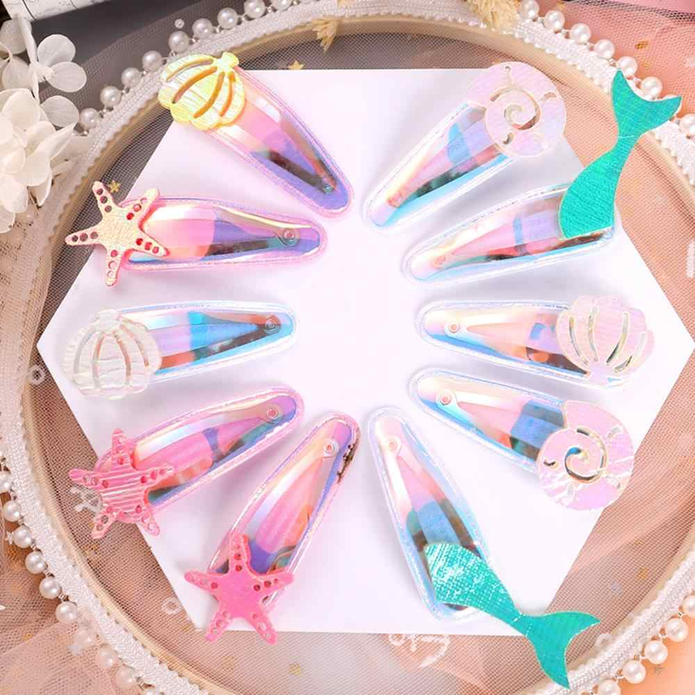 INS Hot Cute Children Laser Starfish Shell Fish tail Hair Clips Sweet Girls BB Hairpins Barrettes Hairgrip Kids Hair Accessories