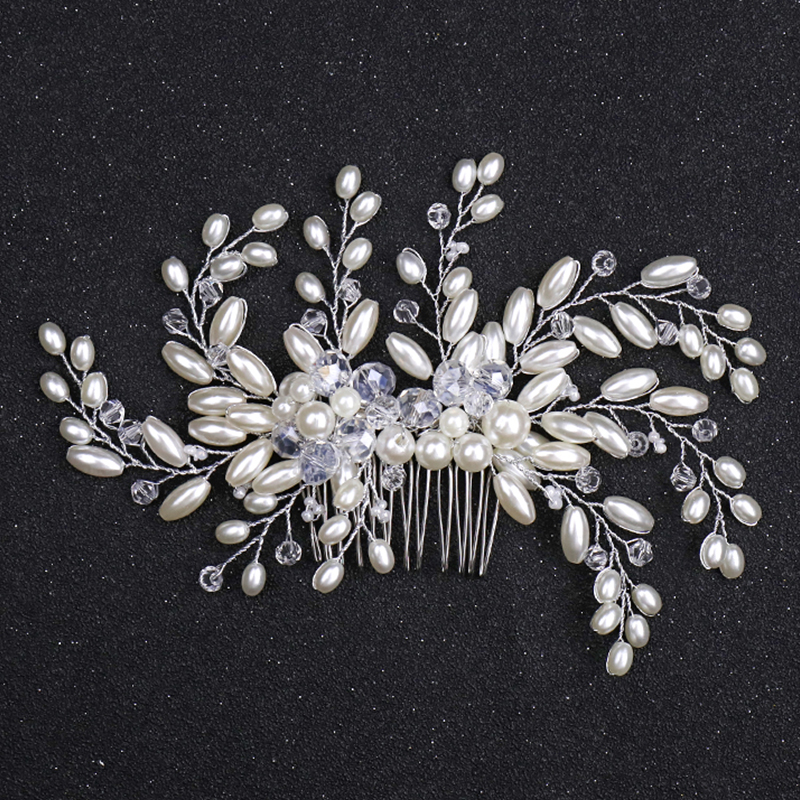 UK/_ Simulated Pearls Leaves Bridal Hairpin for Wedding Women Hair Accessories Sa