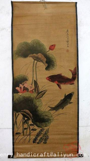 Antique QingDynasty Hand-painted Chinese calligraphy painting--Lotus & fish, decoration murals, crafts /collection & adornment