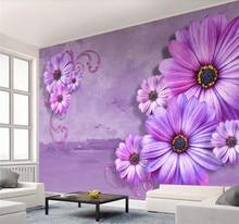 Custom wallpaper mural lavender elegant 3d stereo flower TV background wall decoration waterproof material