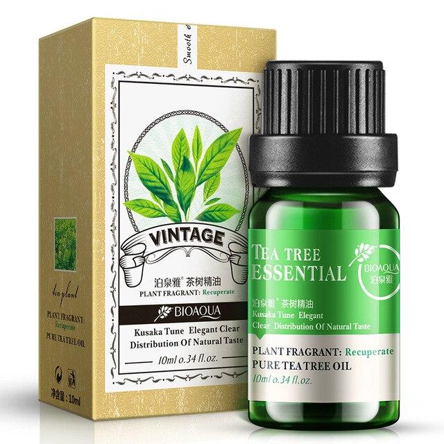 Bioaqua עץ תה שמן עבור אקנה צלקת הסרת פיברוזיס טיפול חטט נקבובית רצועות עבור עור טיפול פצעונים