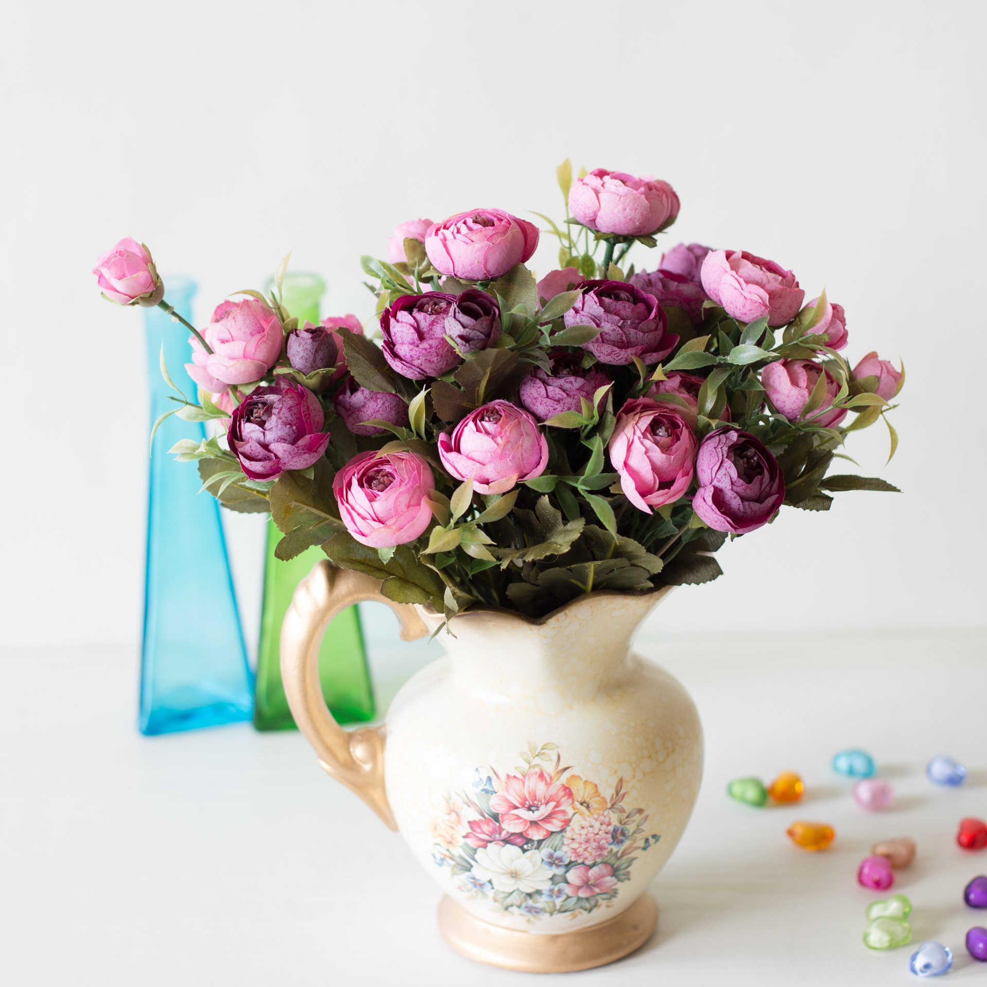 Image 5 - 9 Head/Bouquet Mini Fake Tea Rose Peony Flowers For Home Wedding Decor Artificial Rose Penoy Flower Bouquet Bud For Room Decor-in Artificial & Dried Flowers from Home & Garden