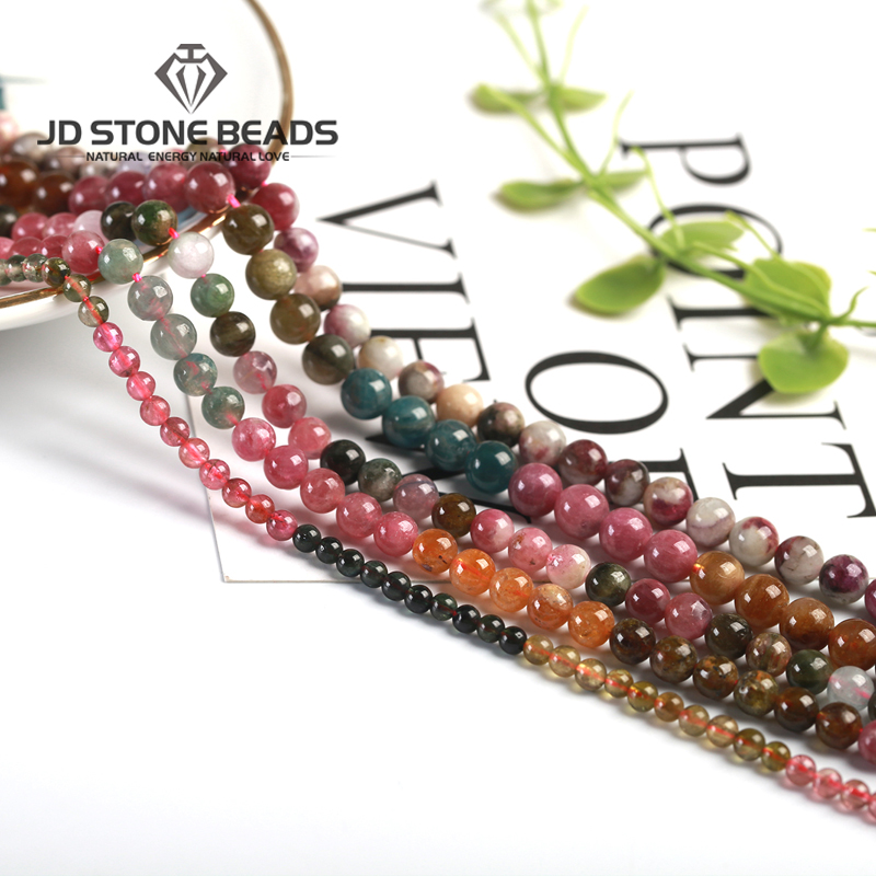 Natural Semi Precious Tourmaline Gemstone Small Faceted Round Beads Size2/3/4/6/8/10MM 7A Ice Mixed Stone For Jewelry Making