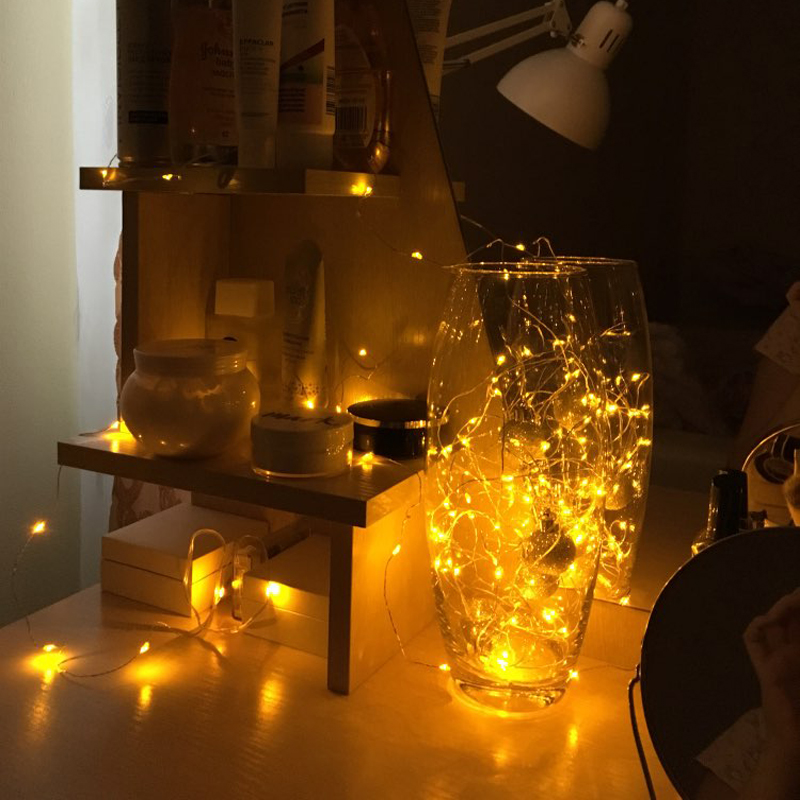 Micro Copper Wire Led Batteri Lys String Fairy Light Garland Jul Led - Ferie belysning - Bilde 4