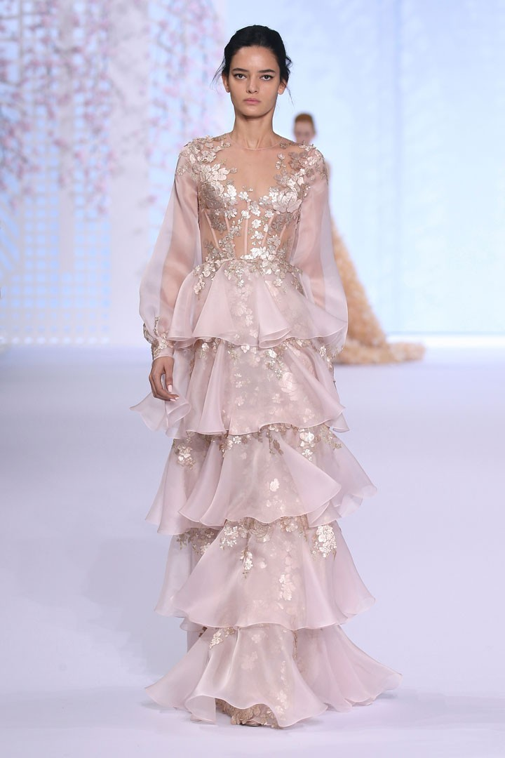 efdd27afca Tiered Ralph &Russo Evening Dresses 2016 Gold Lace A Line Long ...