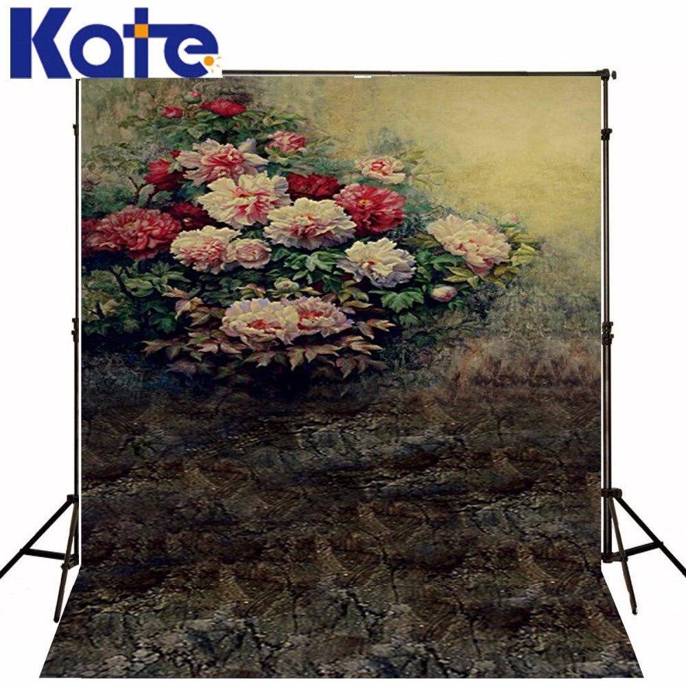 Kate rétro peinture à l'huile fond fleur brique mur fonds pour Studio Photo coton Wasahble photographie toile de fond